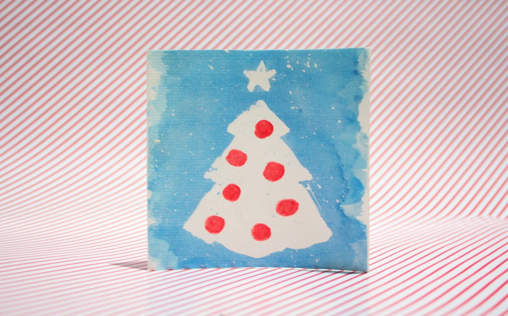Watercolour christmas cards - The final card
