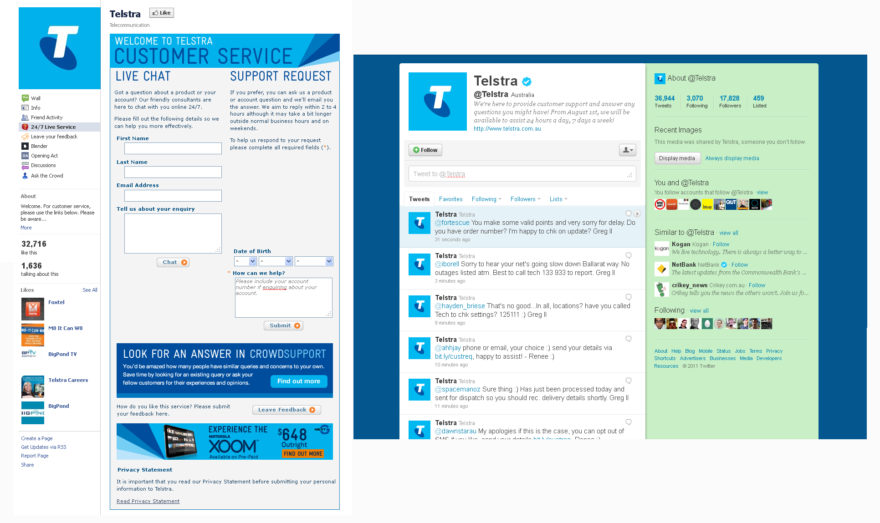 Telstra - Facebook and Twitter Accounts