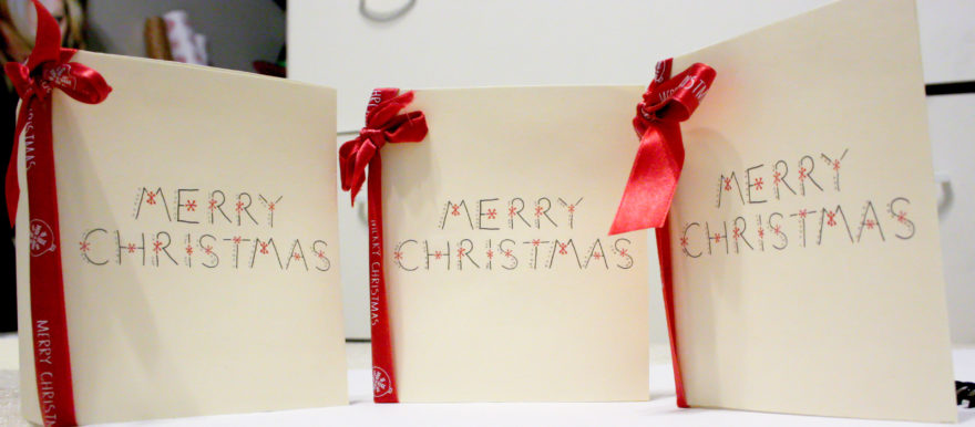 Handmade Christmas Cards - Final cards with ribbon