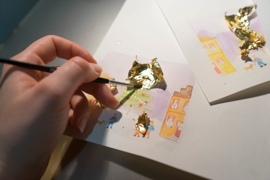 Watercolour and gold leaf christmas cards - Removing the gold leaf after its dried