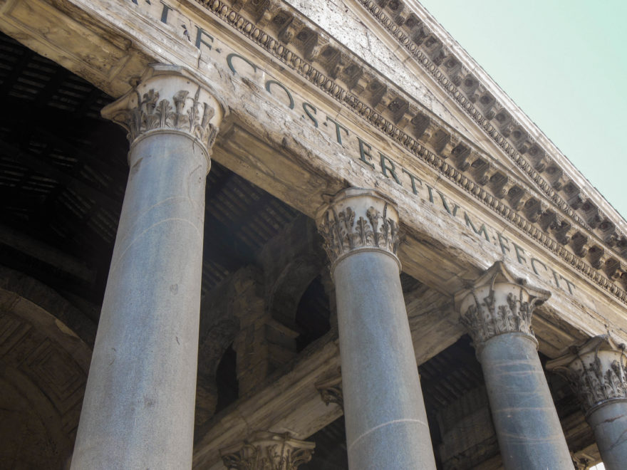 Rome - Lettering on the front of the Pantheon