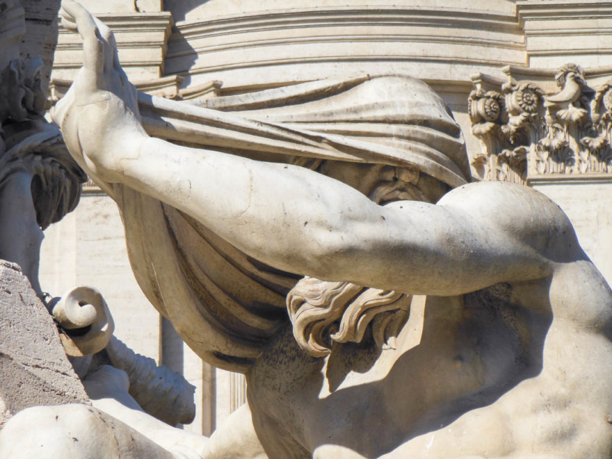 Rome - Fountain of the Four Rivers close up in Piazza Navona