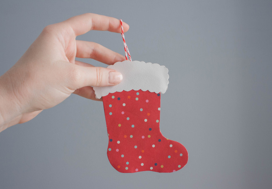 Christmas stocking card - final card with message card inside